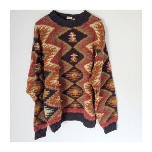 Oversized Hand Knit Sweater w Funky Patterns